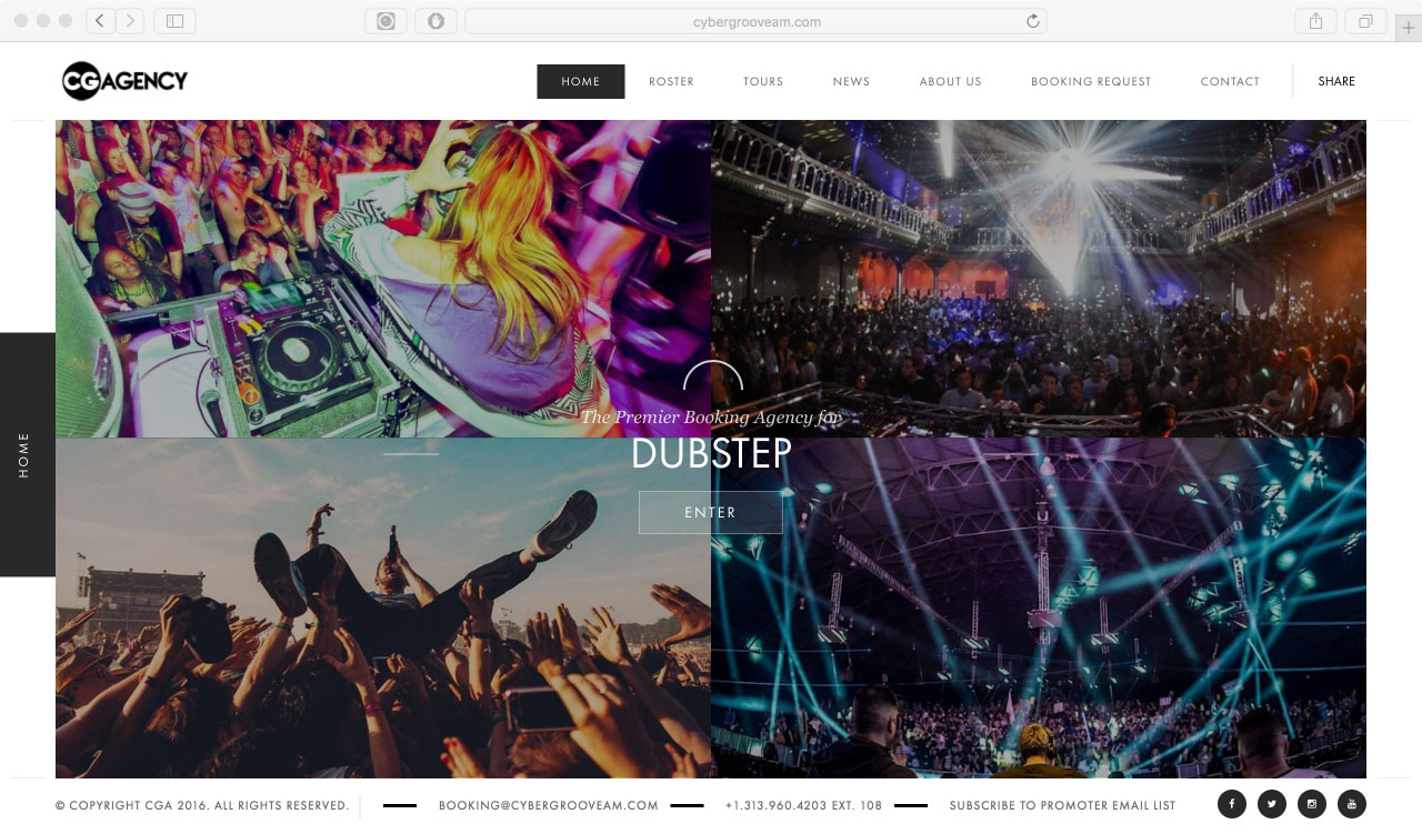 Cybergroove Artist Management website design by Jay Clue